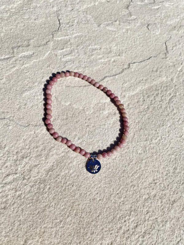 Natural Stone (Pink Quartz) Bead Anklet 12