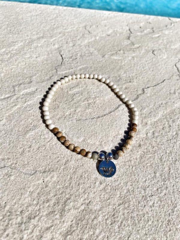 Natural Stone (Pink Quartz) Bead Anklet 4