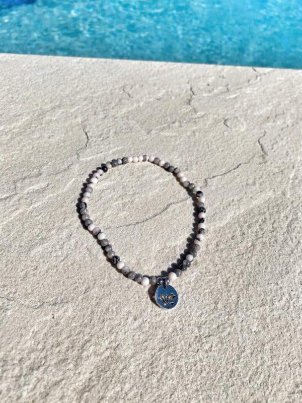 Natural Stone (Pink Quartz) Bead Anklet 8