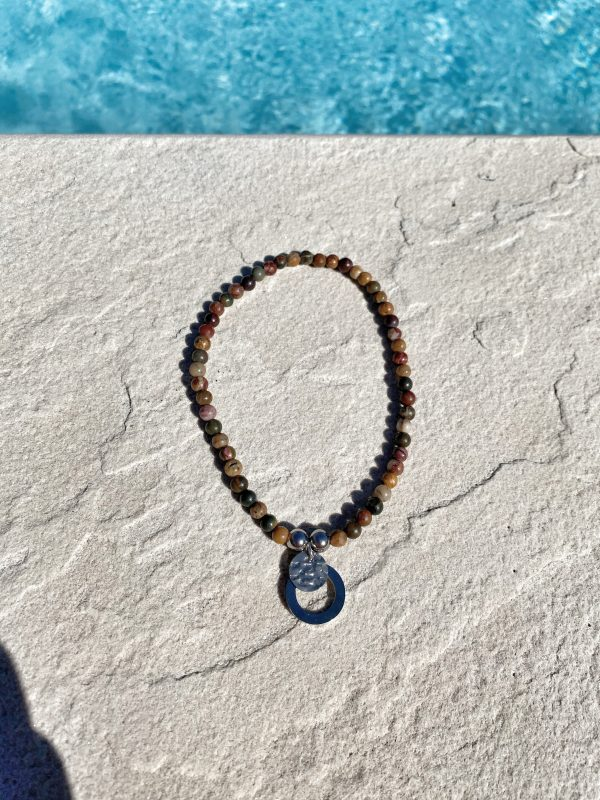 Natural Stone (Red Picasso) Bead Anklet 1