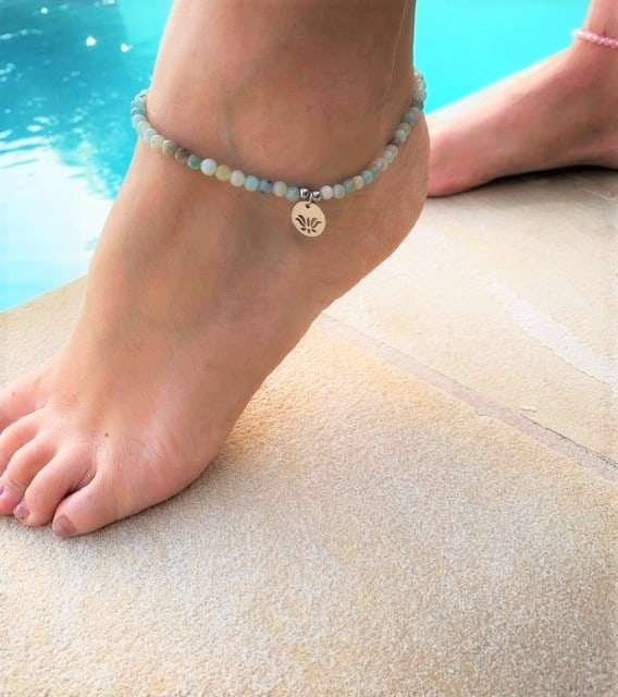 Natural Stone (Pink Aventurine) Bead Anklet 5