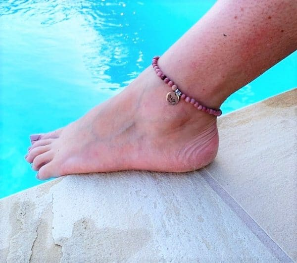 Natural Stone (Pink Quartz) Bead Anklet 13